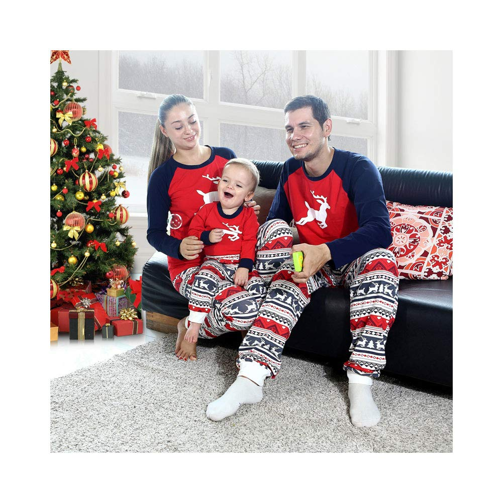 Baywell 2018 Christmas Family Pajamas Set Elk Pattern Mom Dad Kid Outfits Set for Xmas