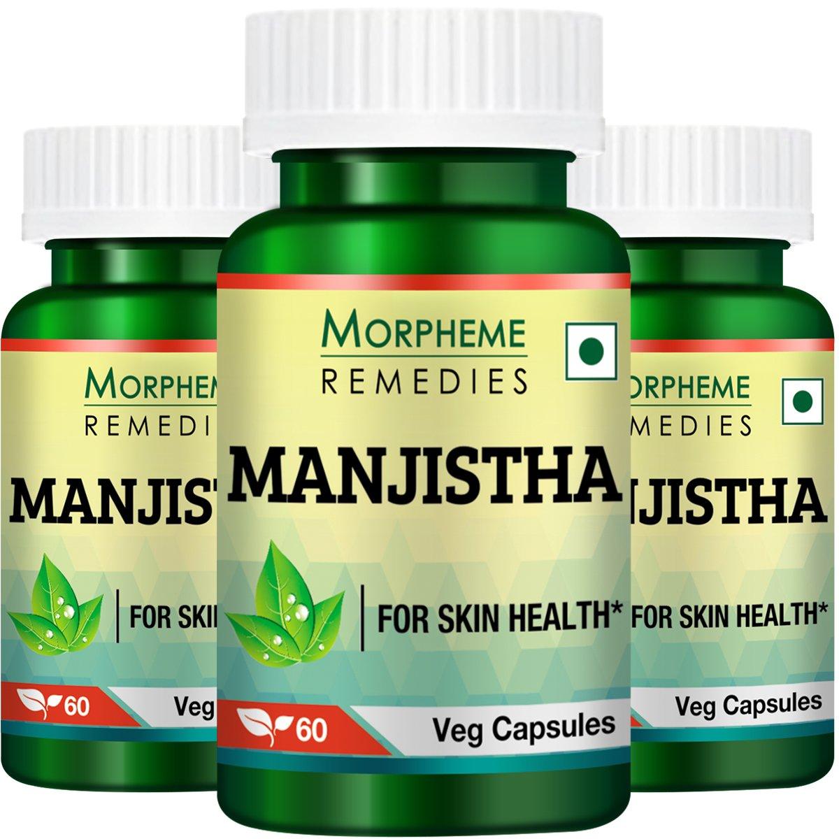 Morpheme Manjistha (Rubia Cordifolia) - 500mg Extract 60 Veg Capsules - 3 Bottles by Morpheme Remedies
