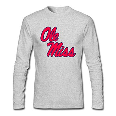 Amazon Com Men S Ole Miss Rebels 100 Cotton Long Sleeve T Shirt
