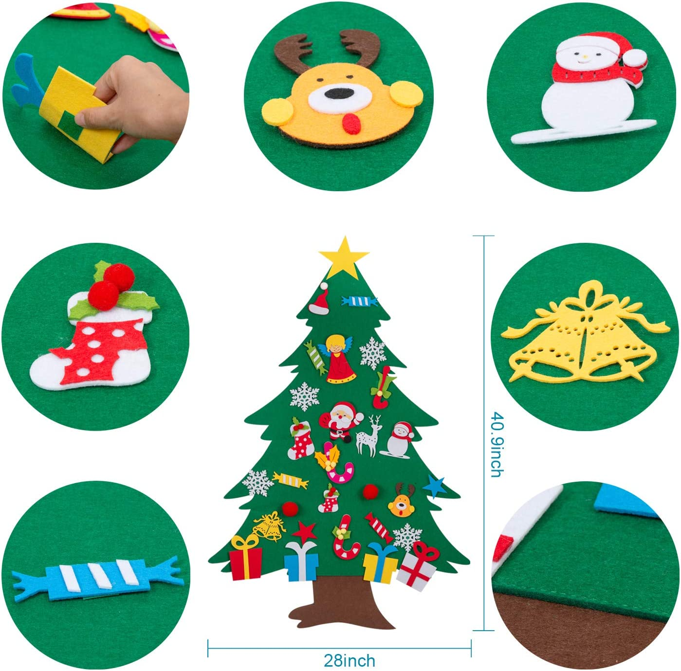 YOHEER DIY Felt Christmas Tree 3.57ft DIY Christmas Tree with 26 Pcs Xmas Gifts Santa Claus Ornaments Wall Decor with Hanging Rope for Home Door Decoration