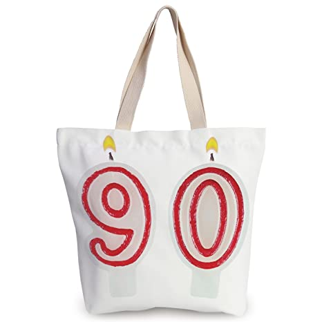 Funky Canvas Tote Bag90th Birthday DecorationsBurning Candles In Red And White