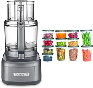 Cuisinart FP-11GM Elemental 11-Cup Food Processor (Gunmetal) with Storage Containers Bundle (2 Items)