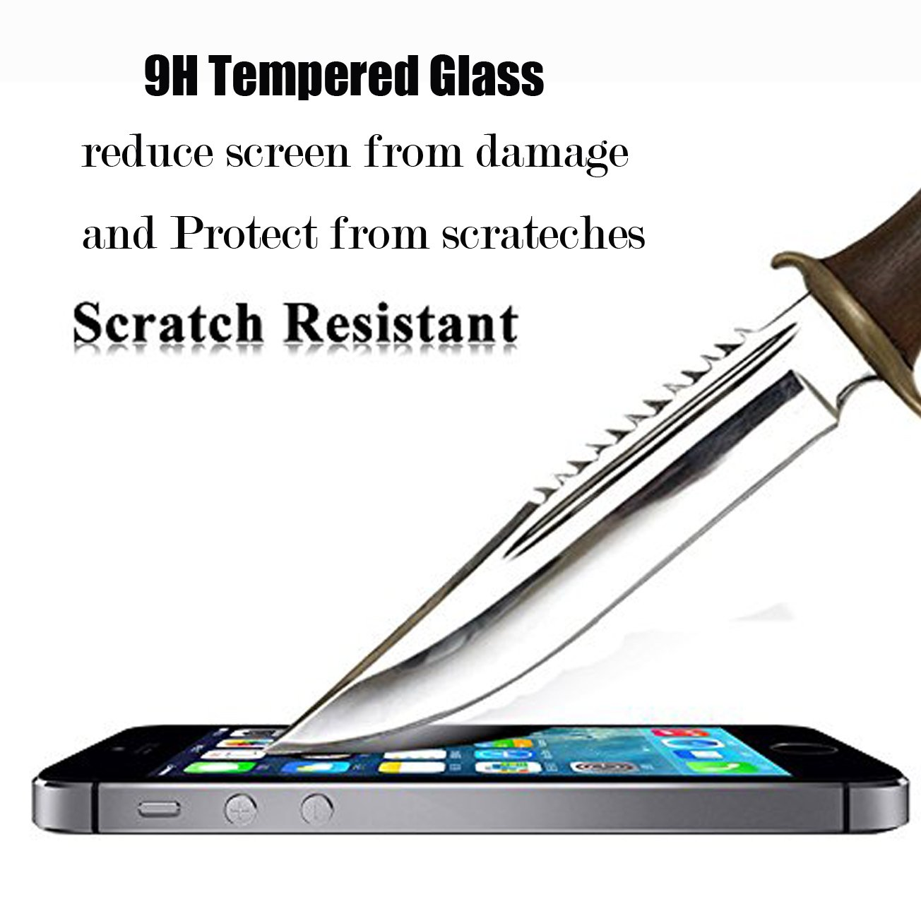 [1-Pack] iPhone 5S/SE/5C/5 Screen Protector,iBarbe iPhone Se Glass Screen Protector,Transparent Tempered Glass Screen Protector Film 9H Hardness(0.26mm HD Ultra Clear) by iBarbe (Image #3)