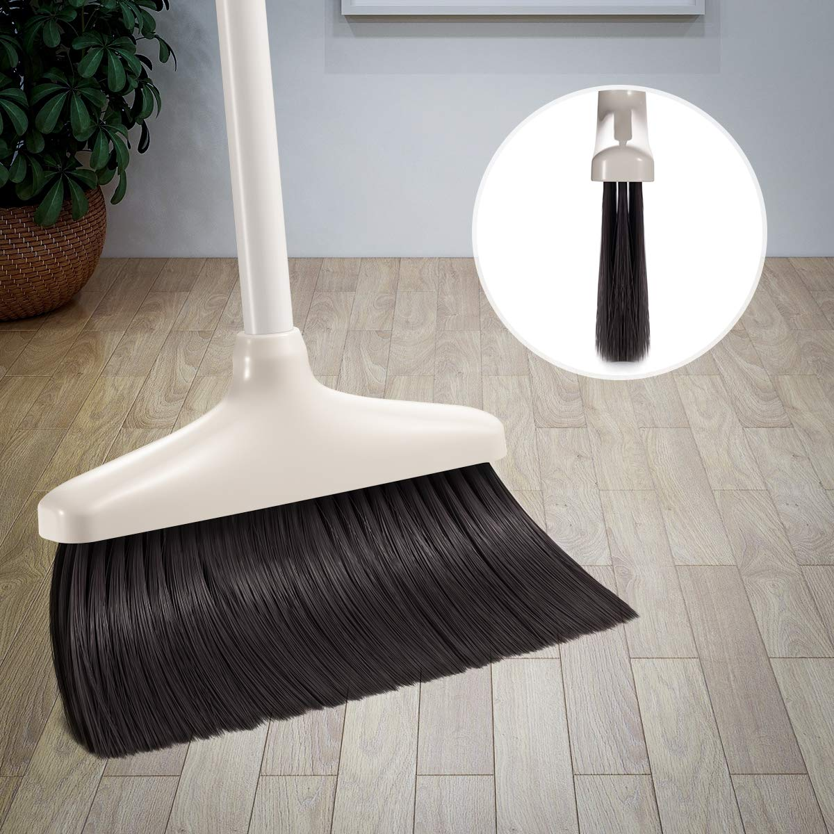 Broom and Dustpan Set, CQT Dust Pan and Broom with Long Handle for Home Kitchen Industry Lobby Floor Sweeping Upright Stand Up Dustpan Cleans Broom Combo by CQT (Image #3)
