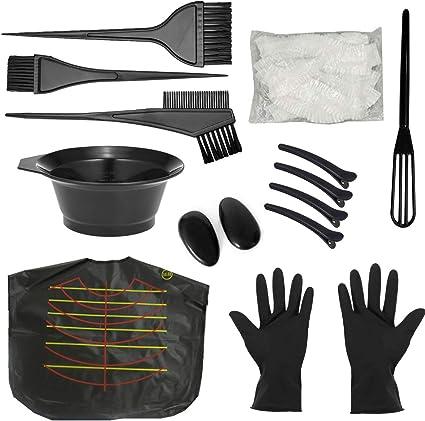 Kit de Pelo Tinte,Professional Kit de Coloración Tinte para Cabello con Pelo Tazón de Cepillo de Coloración Peine Guante Cubre Orejas Pinzas cabello ...