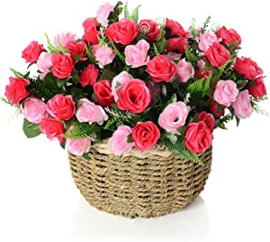 Artificial Flowers Arrangement, Silky Fake Rose Flowers in Handmade Baskets for Home and Office Centerpieces Decor (Red Rose)