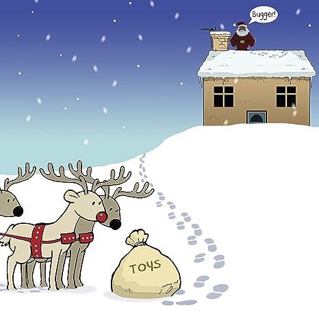 Biglietti Di Natale Divertenti.Twizler Buon Natale Con Babbo Natale Giocattoli Renna E Bugger