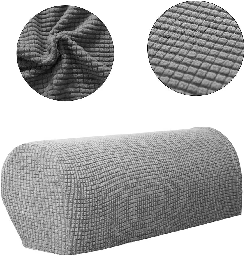 Armrest Chair Covers Soft Polyester Stretch Armchair Arm Covers for Chair 10PCS Twist Pins Couch Covers Lifreer 1Pack Gray Armchair Cover Sofa Furniture Protector