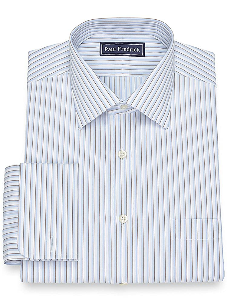 1940s Mens Clothing Paul Fredrick Mens Cotton Framed Stripe Dress Shirt $34.98 AT vintagedancer.com