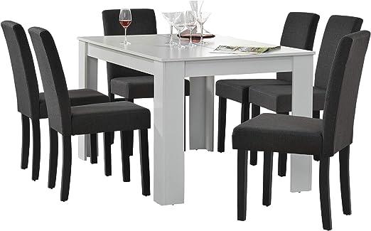 en.casa] Set de Comedor Elegante Mesa de diseño Blanca con 6 ...