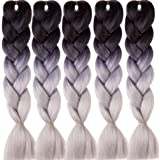 Emmet Premium Quality Box Jumbo Braids 100% Kanekalon Braiding Hair Extension 24Inch Full Synthetic Heat Resistant Hair Ombre 37 Colors 2 Tone & 3 Tone 5pcs/lot, with Hair Care Ebook