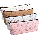 IIOOII  Canvas Pen Pencil Case Stationery Pouch Bag Case Cosmetic Bags, Set of 4