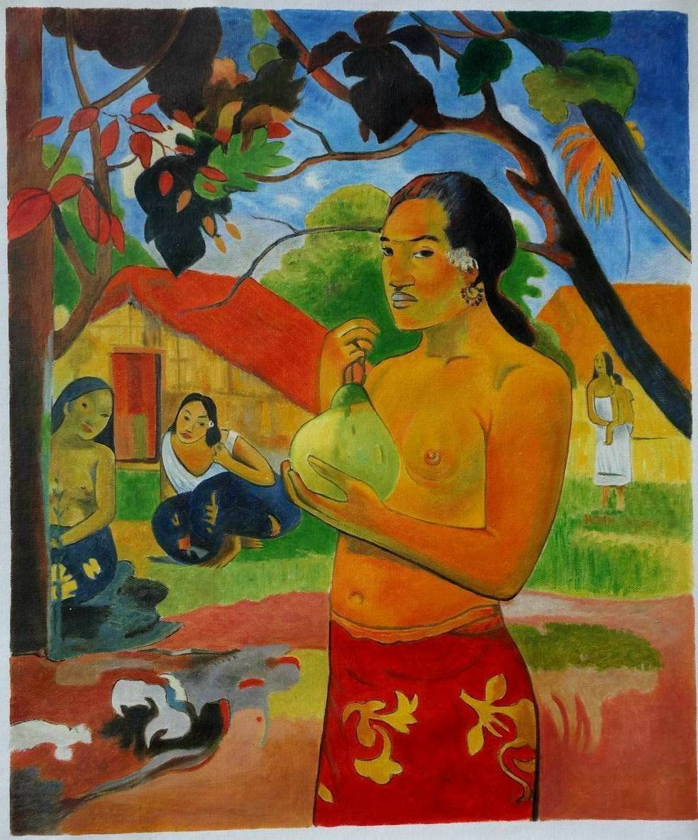 Eastpainting Handmade Woman Holding a Fruit Oil Painting By Gauguin 20×24 Inches