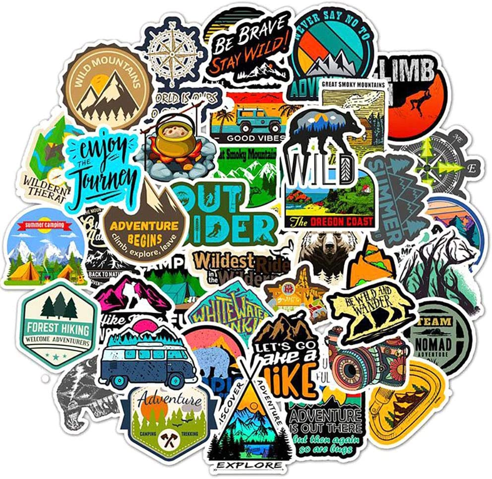 Cool Water Bottle Stickers,Ratgoo Outdoor Travel Adventure Wilderness Nature Stickers Hiking Camping Fishing Mountaineering Stickers Pack 50 Pcs for Bumper Helmet Luggage Laptop Water Bottle Suitcase