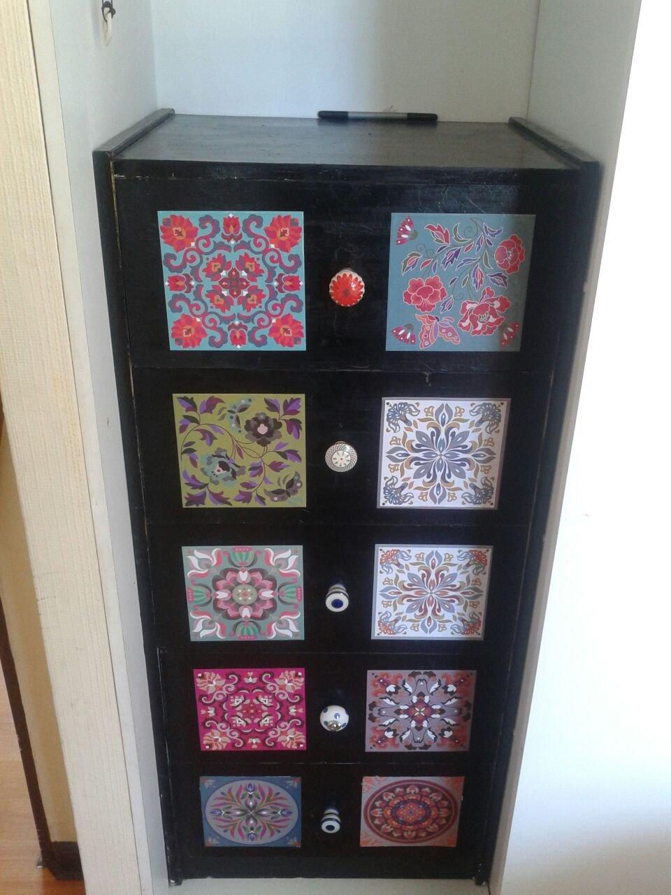CHINA Decorative Tile Stickers Set 12 units 6x6 inches. Peel & Stick Vinyl Tiles. Home Decor. Furniture Decor. Backsplash. by VALDECO