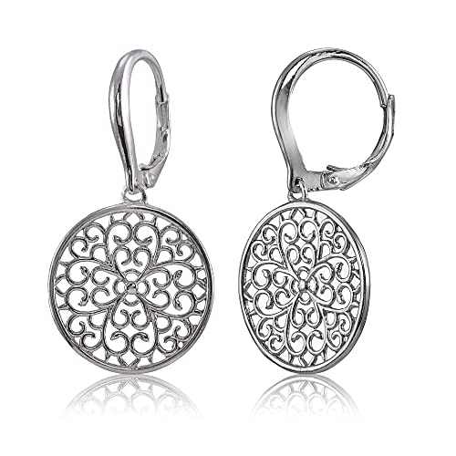b95344515 Amazon.com: Sterling Silver High Polished Medallion Filigree Leverback  Earrings: Jewelry