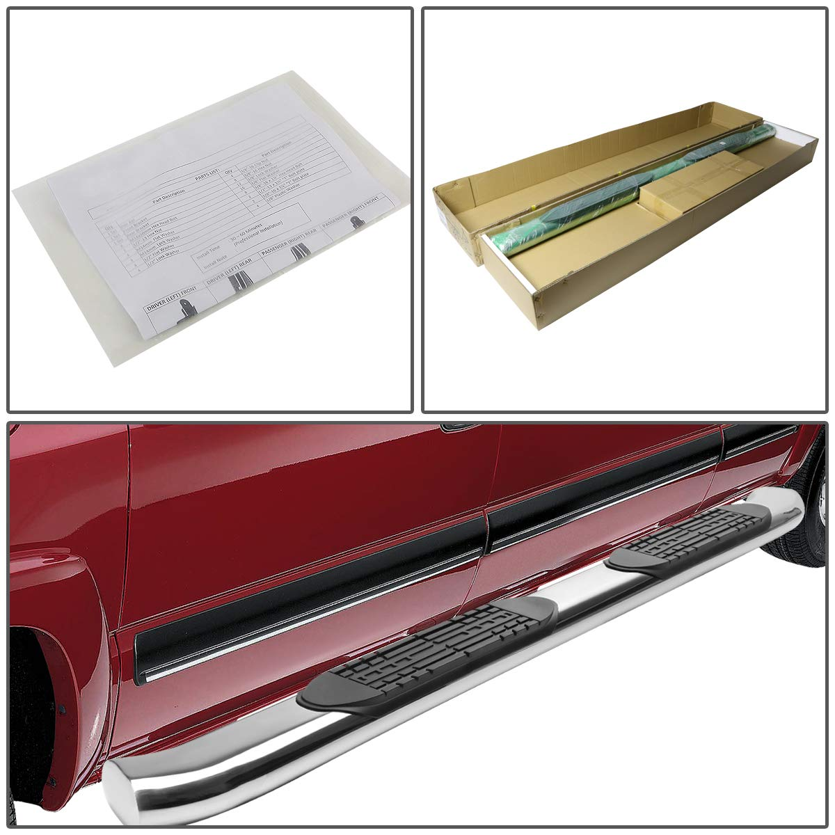 DNA MOTORING STEPB-4C-016-SS Stainless Steel 4 Curved Side Step Nerf Bar Running Board