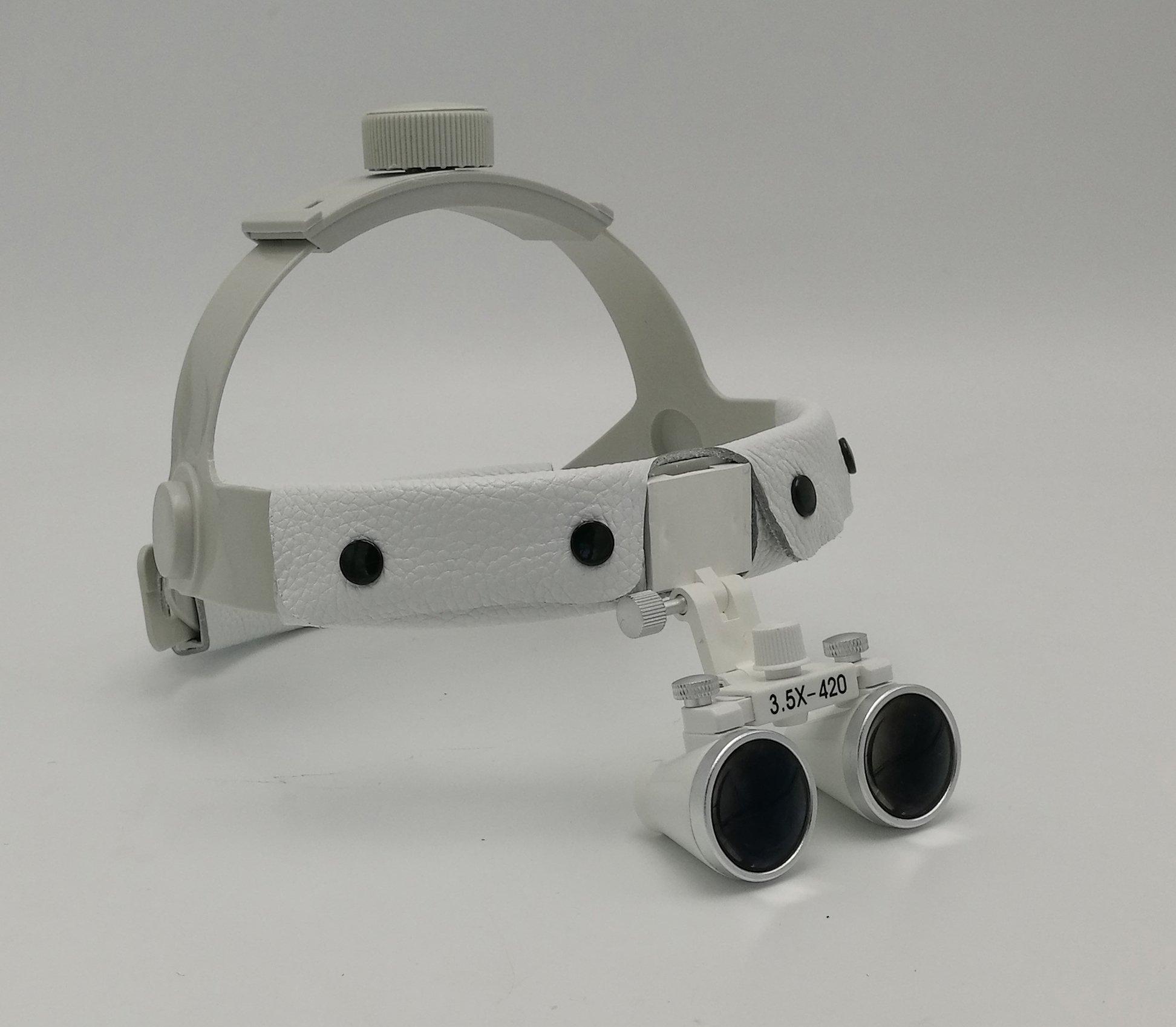 NSKI Headband Surgical Medical Binocular Loupes 3.5X420mm Dental Lab Equipment DY-108 White