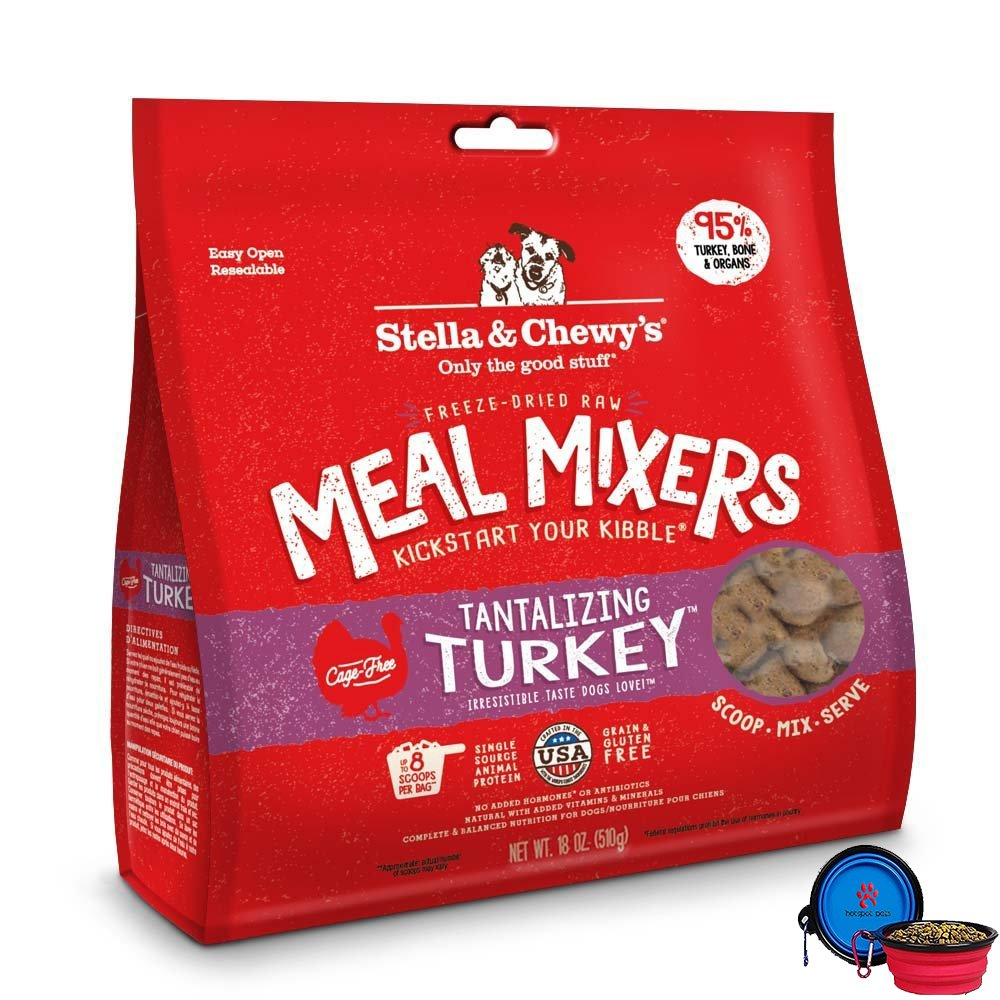 Stella & Chewy's Freeze Dried Dog Food,Snacks Super Meal Mixers 18-ounce Bag With Hot Spot Pets Food Bowl - Made in USA (Turkey)