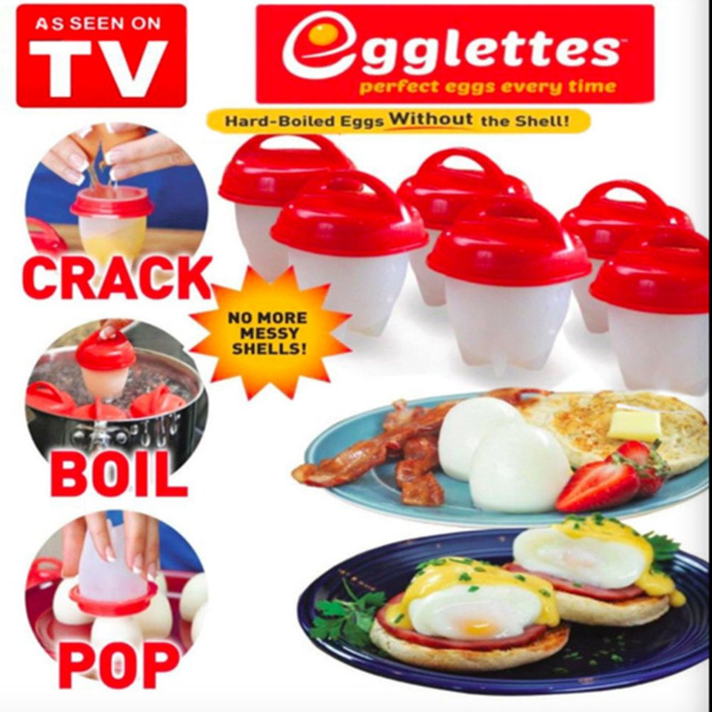 Egglettes, Egg Cooker Hard & Soft Maker, No Shell, BPA Free, Non Stick Silicone, Poacher, Boiled, Steamer, AS SEEN ON TV Muxuan