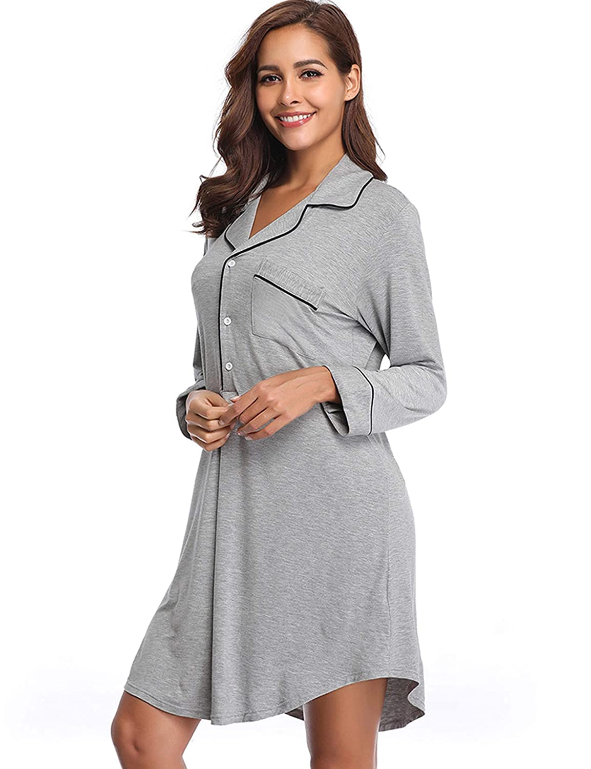 04dd4ead85 Lusofie Nightgown Womens Long Sleeve Nightshirt Boyfriend Sleep Shirt Button -up Lapel Collar Sleepwear USATYN1000370