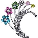 Yazilind bijoux assez d'argent plaque Carve fleurs colorees Broches strass cristal et Pins pour les femmes cadeau