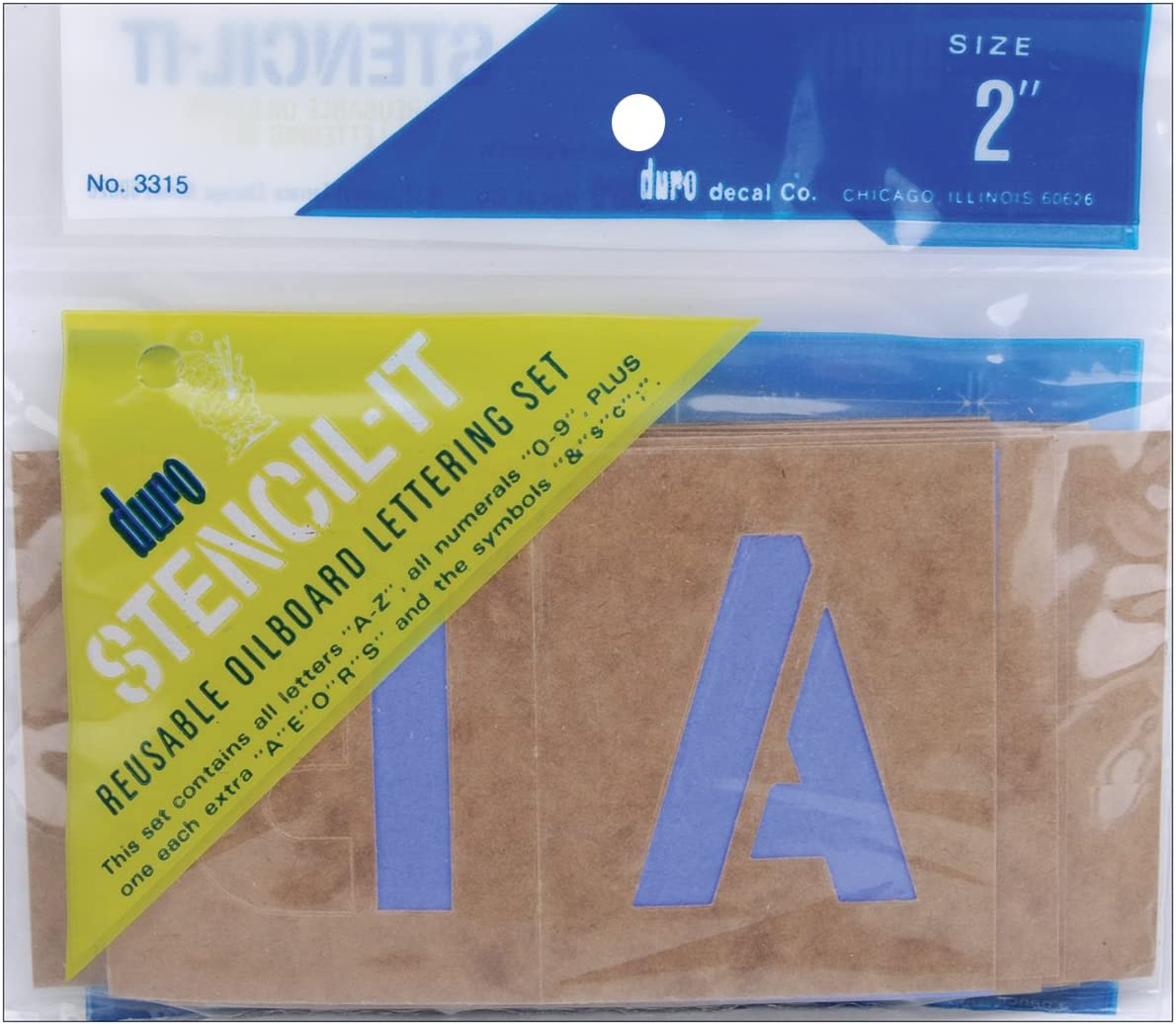 2-In Graphic Products 3315 Stencil-It Letter /& Number Stencil Set Reusable Oil-Board - Quantity 1