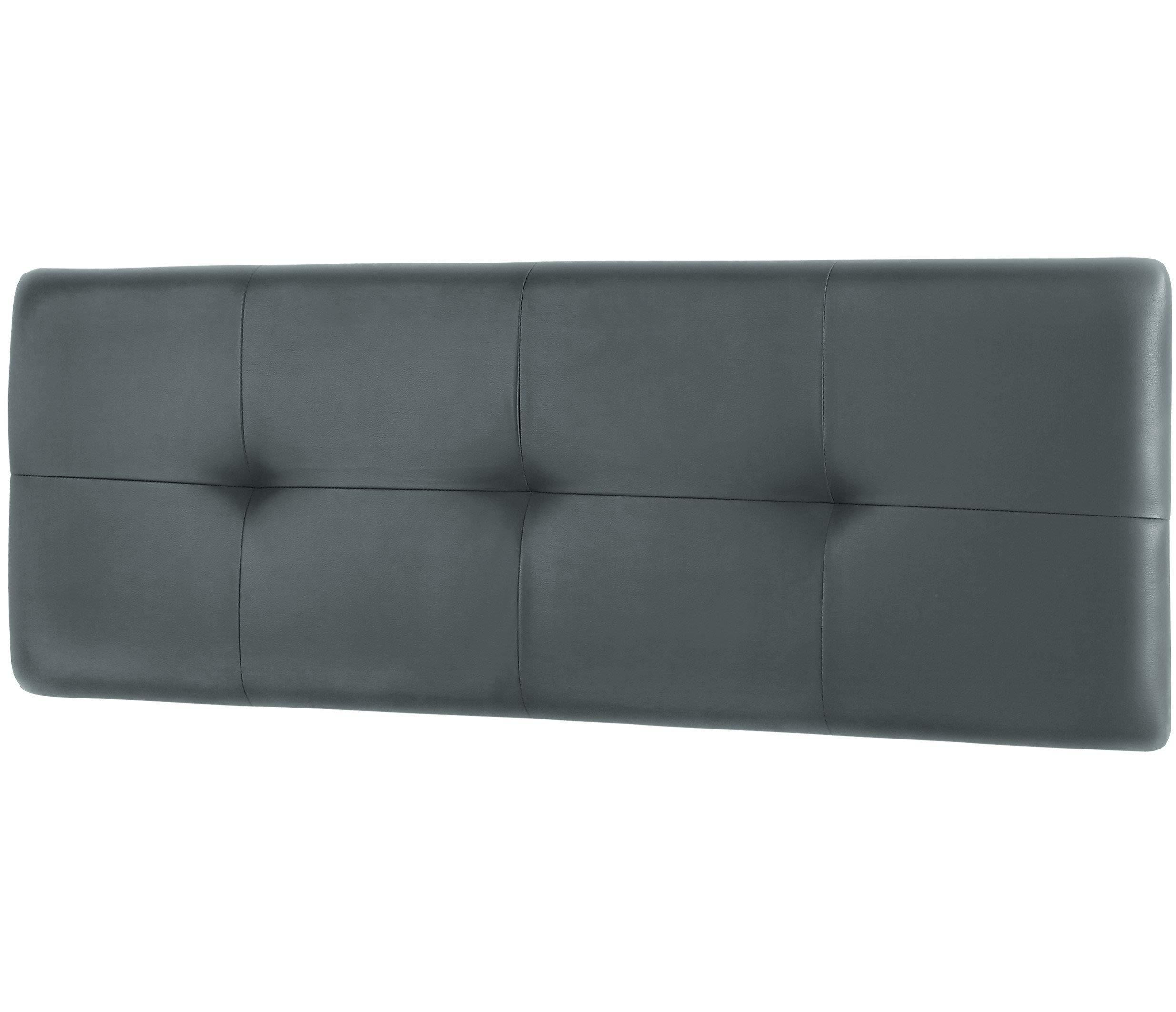 Studio Decor Deva - Cabecero de cama de matrimonio tapizado en polipiel, Grafito, 160