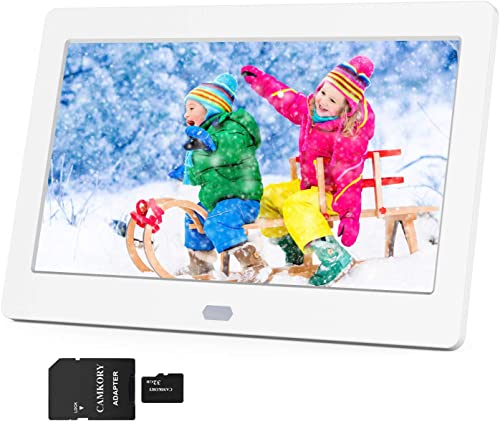 Digital Picture Frame 1280×800 16 9 IPS Wide Screen Include 32GB SD Card, HD Video Frame, Picture Auto Rotate, Auto Turn On Off, Auto Play Photos, Background Music, Support MAX 128G USB Drive SD Card