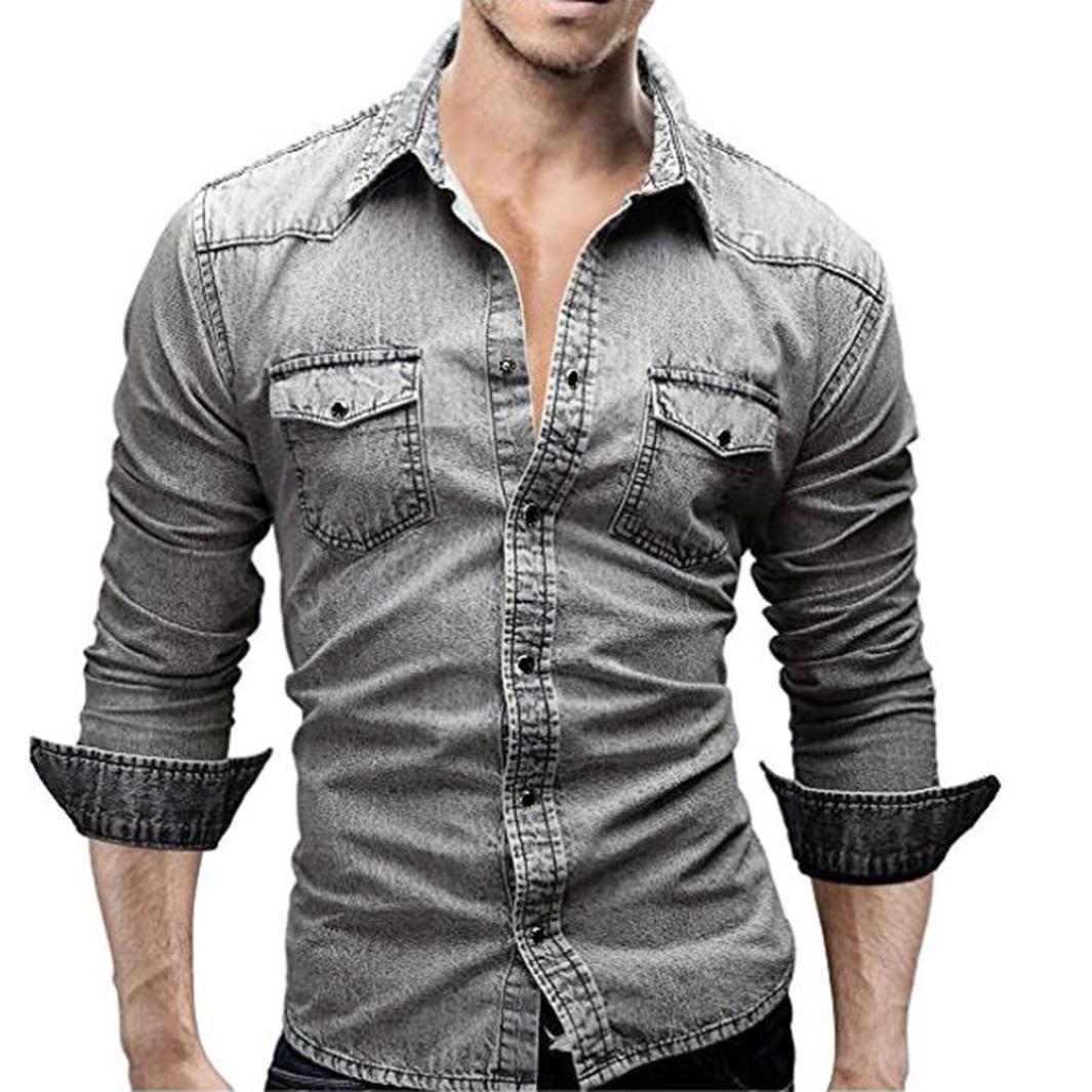 Sumen Men Button Down Shirt Retro Denim Shirts Cowboy Slim Thin Long Sleeve Top