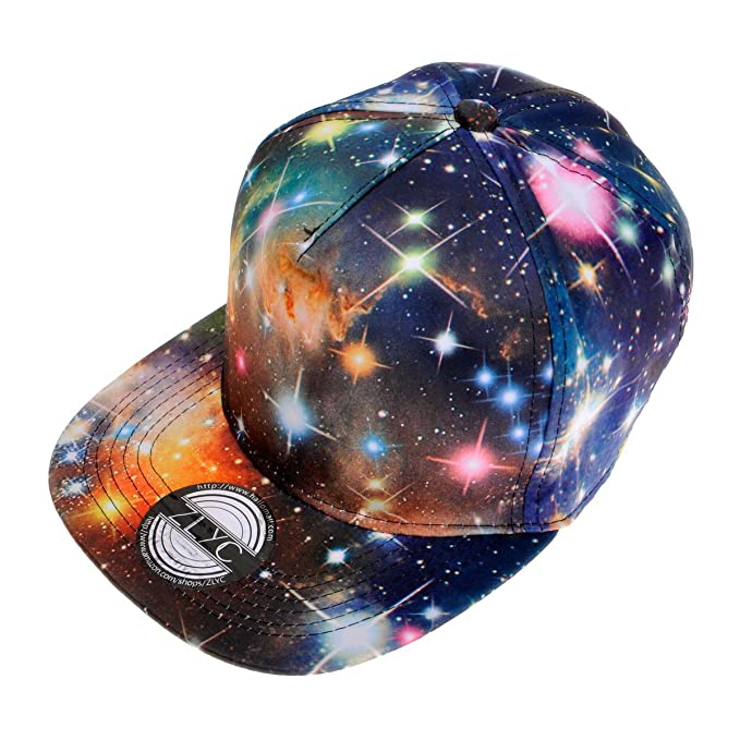 520faf080da ZLYC New Starry Galaxy Sky Neon Pattern Flatbill Snapback Adjust Baseball  Hat(Black)