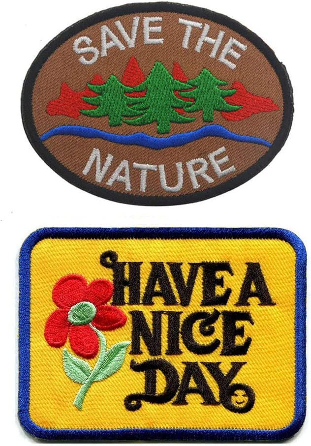 SOUTHYU 2 Pieces Tactical Morale Patches - Save The Nature & Have a Nice Day Embroidered Badge Decorative Appliques, Hook and Loop Patch