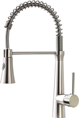 WANMAI Kitchen Faucets With Pull Down Sprayer Single Handle High Arc Kitchen Sink Faucet, Brushed Nickel Kitchen Faucet