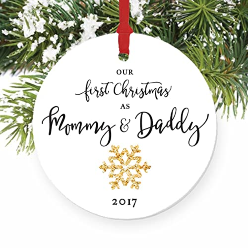 Amazon.com: Mommy & Daddy Ornament 2017, New Mother & Father ...