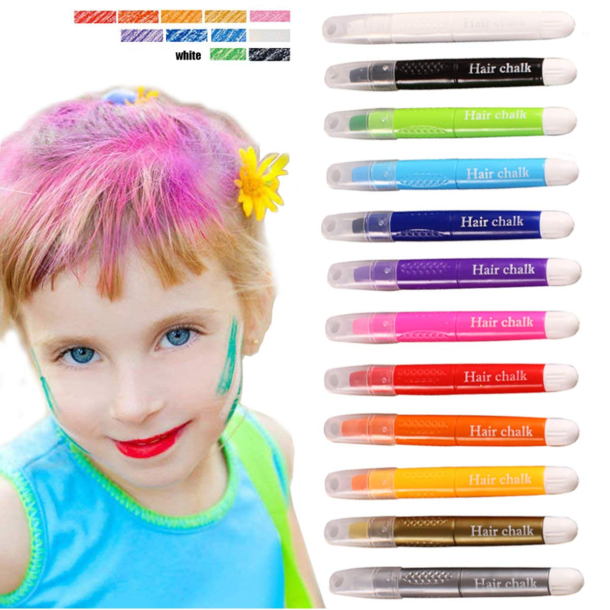 Kyerivs Hair Chalk Pens 12 Colors Temporary Hair Chalk, Easy To Use, Works On All color hair -Great Dress Up Performance Costumes Halloween Christmas Party Temporary Color For Kids Of All Ages