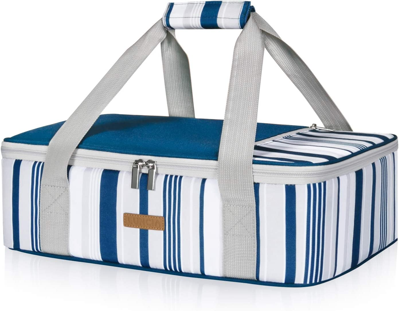 "LUNCIA Insulated Casserole Carrier for Hot or Cold Food, Lasagna Lugger Tote for Potluck Parties/Picnic/Cookouts, Fits 9""x13"" Baking Dish, Blue"