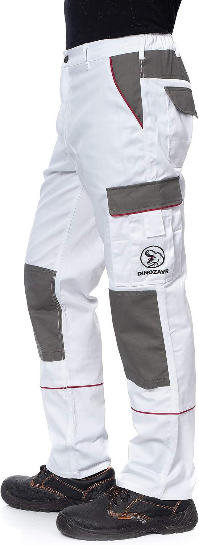 Uomo con Tasche Multifunzione e Ginocchiera e Strisce Riflettenti Pantaloni da Lavoro Extra Resistenti Colori Diversi Stile Cargo