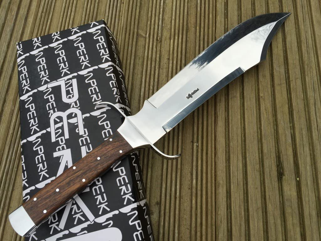 Perkin Hunting Knife with Leather Sheath – 440C Steel Blade with Walnut Wood Handle