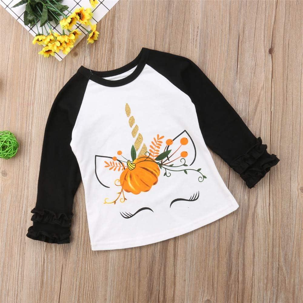 Toddler Baby Girl Halloween Pumpkin Ruffle Long-Sleeve T-Shirt Tops