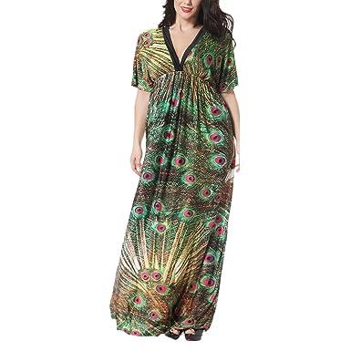 Zhhlinyuan Womens Kaftans Kimonos Beachwear Evening Dresses For Women V-Neck Maxi