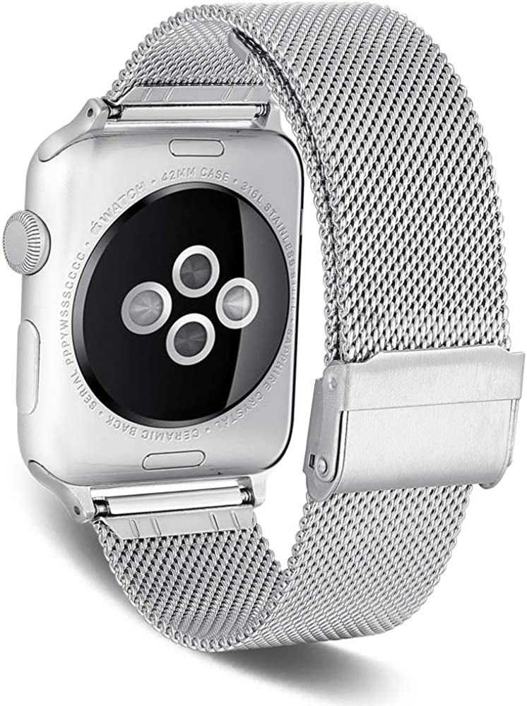 SPINYE Band Compatible for iWatch 38mm 42mm 40mm 44mm, Stainless Steel Metal Mesh Replacement Strap for Apple Watch Series 5/4 / 3/2 Women Men, if Applicable (38/40mm, Silver)