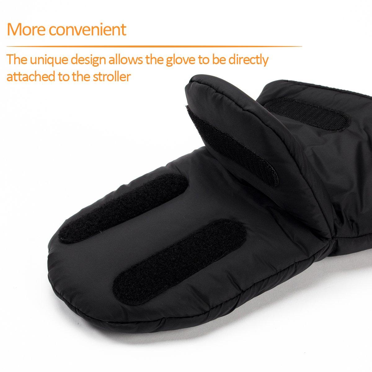 Biubee Stroller Hand Muff Winter Warm Pram Mitten Gloves for Parents and Caregivers Waterproof Anti-Freeze Black by Biubee (Image #5)