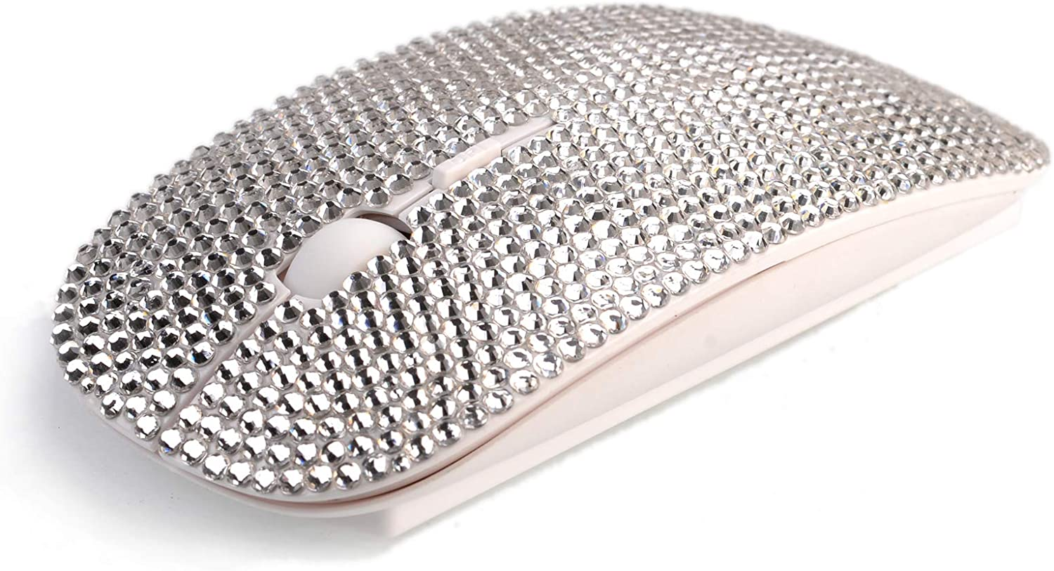 SA@ Bling Wireless Mouse, Silver Rhinestone Wireless Mouse Sparkle Computer Mouse with USB Receiver for Girls, Bedazzled Cute Mice for Laptop, PC, Notebook, MacBook Gift