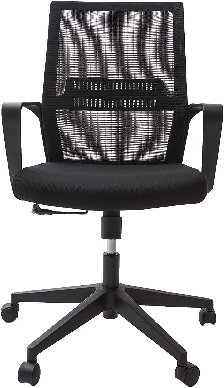 Alcapala Modelo Lisboa - Silla de Oficina con apoyabrazos, Altura y reclinación Ajustables, Soporte para la Espalda y Ruedas 360º, Color Negro