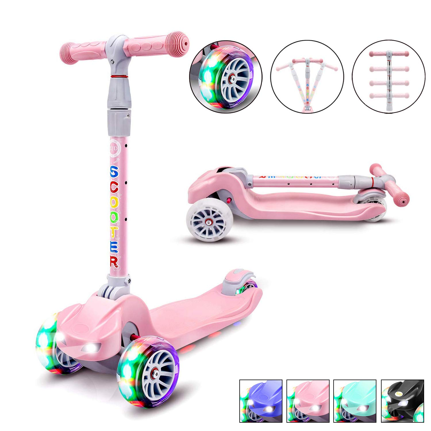 XJD Kick Scooter for Kids 3 Wheel Scooter for Toddlers Girls Boys Toddler Scooter 4 Adjustable Height, Lean to Steer with PU LED Light Up Wheels for Children from 3 to 14 Years Old, Pink by XJD