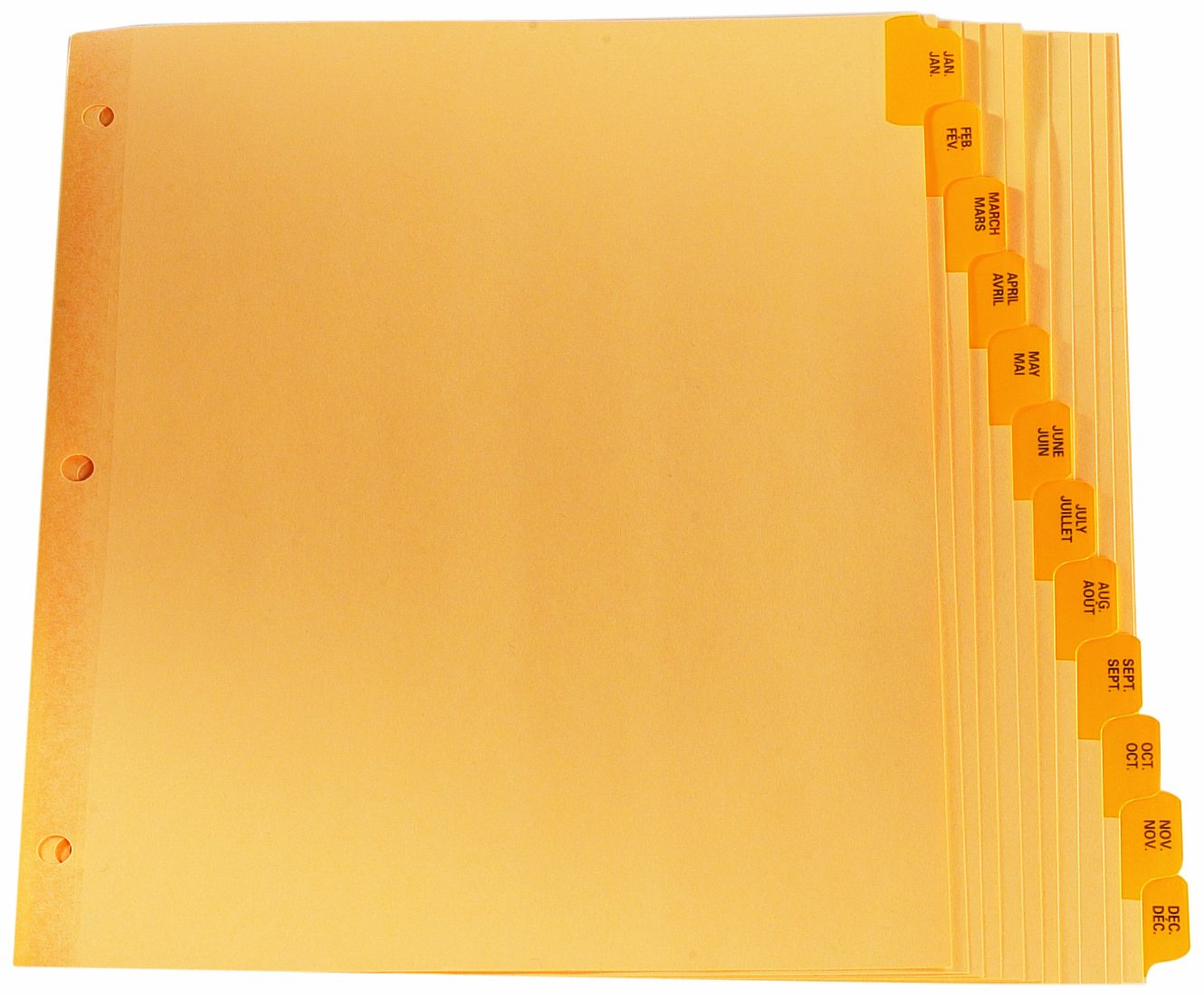 Oxford Premium Preprinted Tab Dividers, January-December/Bilingual, Letter, Buff CR213-12