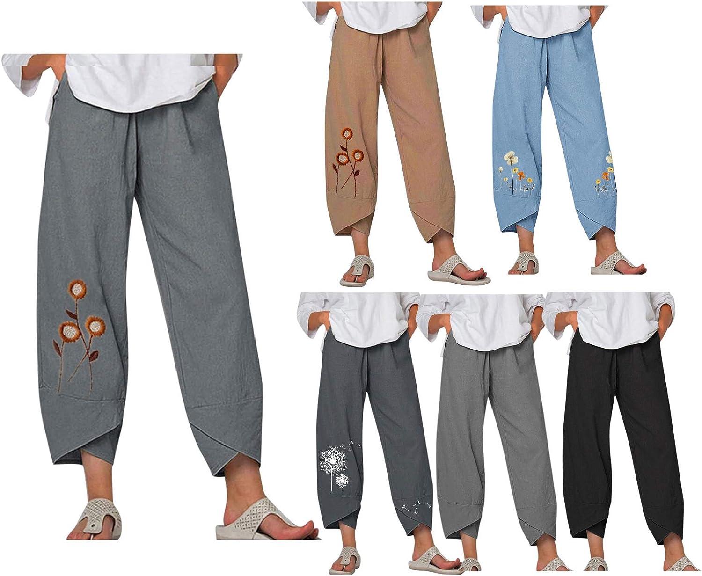 SHOPESSA Womens Linen Harem Pants Y2K Capri Baggy Cotton Linen Boho Sweatpants for Women