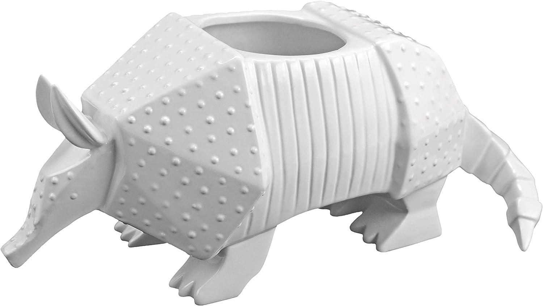 Easy, Tiger White Ceramic Standing Planter Pot Container, Armadillo