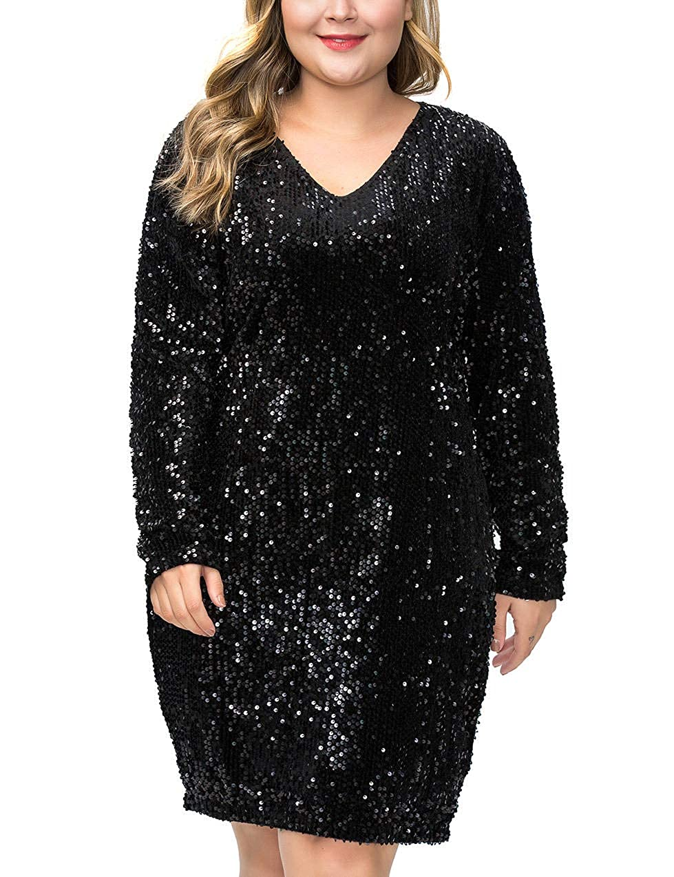 Henly Womens Plus Size Glitter Sequin Dress V Neck Bodycon Party Club Cocktail Evening Mini Dresses