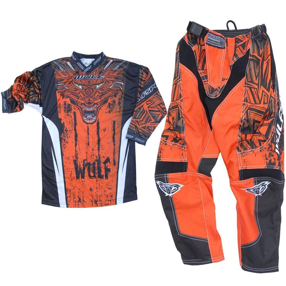 Kids Race Suit 2019 WULFSPORT AZTEC Jersey and Trouser Motocross Quad Dirt Bike Off RoadEnduro Kart ATV MTB BMX Sports Junior Mx Shirt Pant Set ORANGE , PANT : 24 inches ORANGE : SHIRT 8-10 years